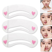 Popular 3Pcs/lot Clear Durable Eyebrow Drawing  Template  Assistant Card Brow Make-Up Stencil
