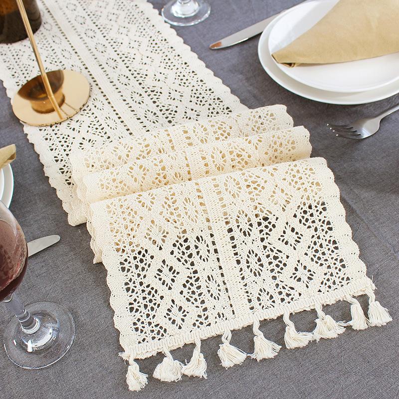 Lace Crochet Hollow Table Runner Tassel Wedding Dinner Party Tablecloth Decor