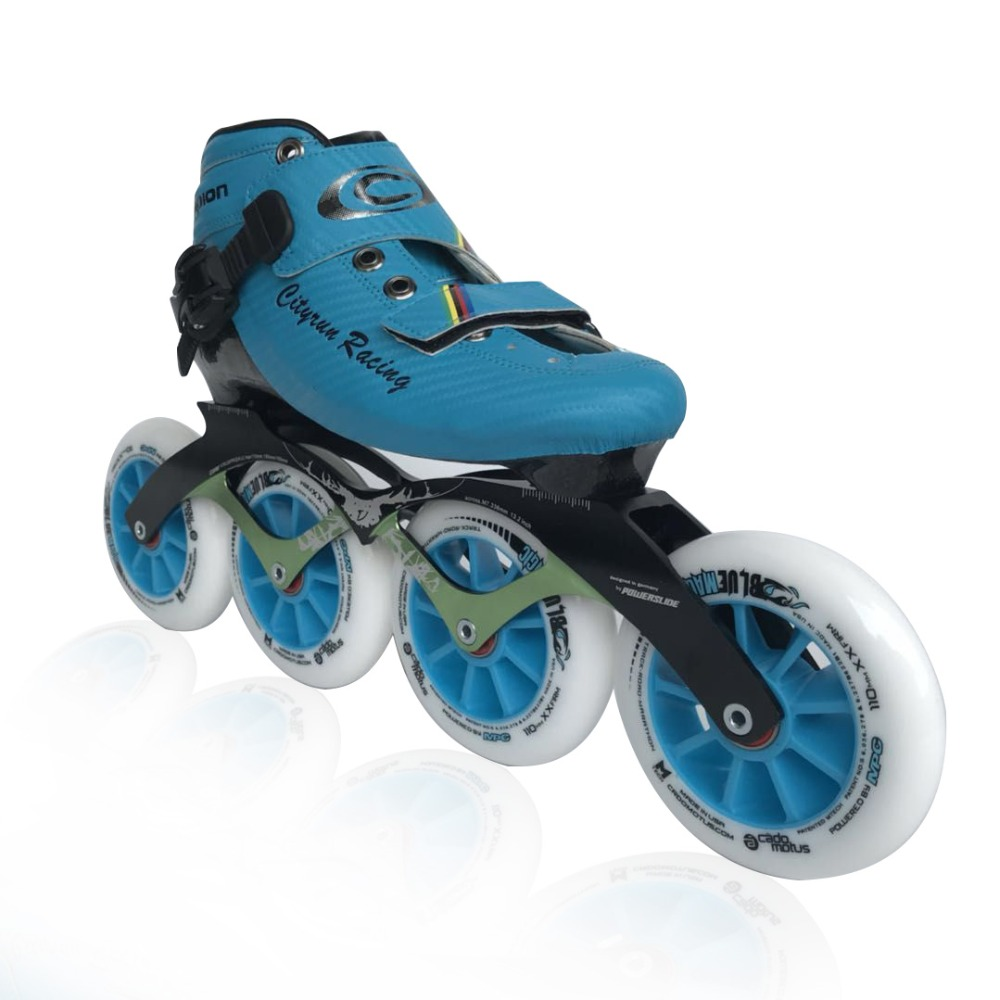 Professionnel En Fiber De Carbone Vitesse Chaussures de Skate Adultes/Enfant Course Patins Bottes CITYRUN Inline Chaussures De Patinage Bleu Jaune Rouge Noir