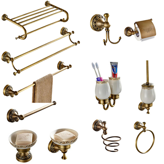 Badezimmerarmaturen Antike Badezimmer Zubehör Set Messing Sammlung Geschnitzt Bad Produkte Handtuch Rack Kreative Wasserhahn Bad Hardware Set Bad Hardware