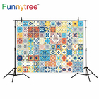 Funnytree backgrounds for photo studio Portuguese tiles pattern vintage colorful photography backdrop photobooth photocall