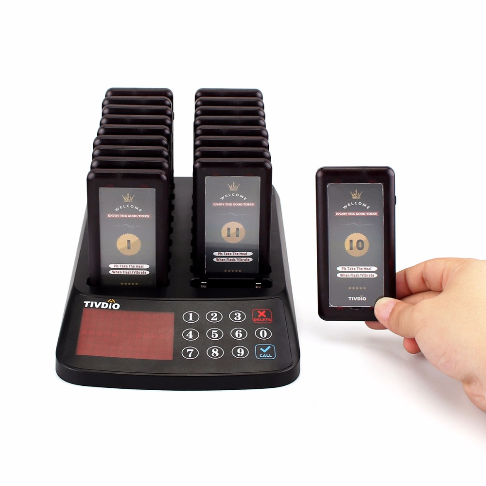 TIVDIO 99 Channel Wireless Paging Queuing System Restaurant 18 Coaster Pagers Receiver+1 Keypad Transmitter Guest Calling F9406 1 transmitter 20 coaster pagers chargeable restaurant pager wireless paging queuing system restaurant equipments f4475