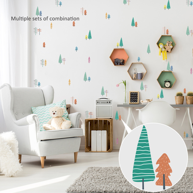 Balleenshiny Cartoon Tree Plane Wall Sticker Nordic Concise Style Removable Wall Poster Baby Kids Room Nursery Cute Decals
