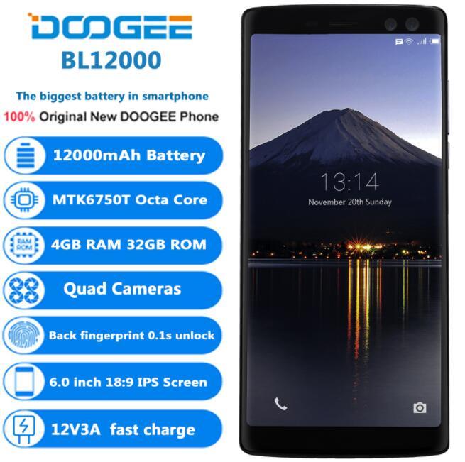 Original DOOGEE BL12000 4 Camera MTK6750T Octa-Core 6.0 FHD 18:9 Full Screen 4GB+32GB 16MP+13MP 12000mAh Android 7.1 SmartPhone