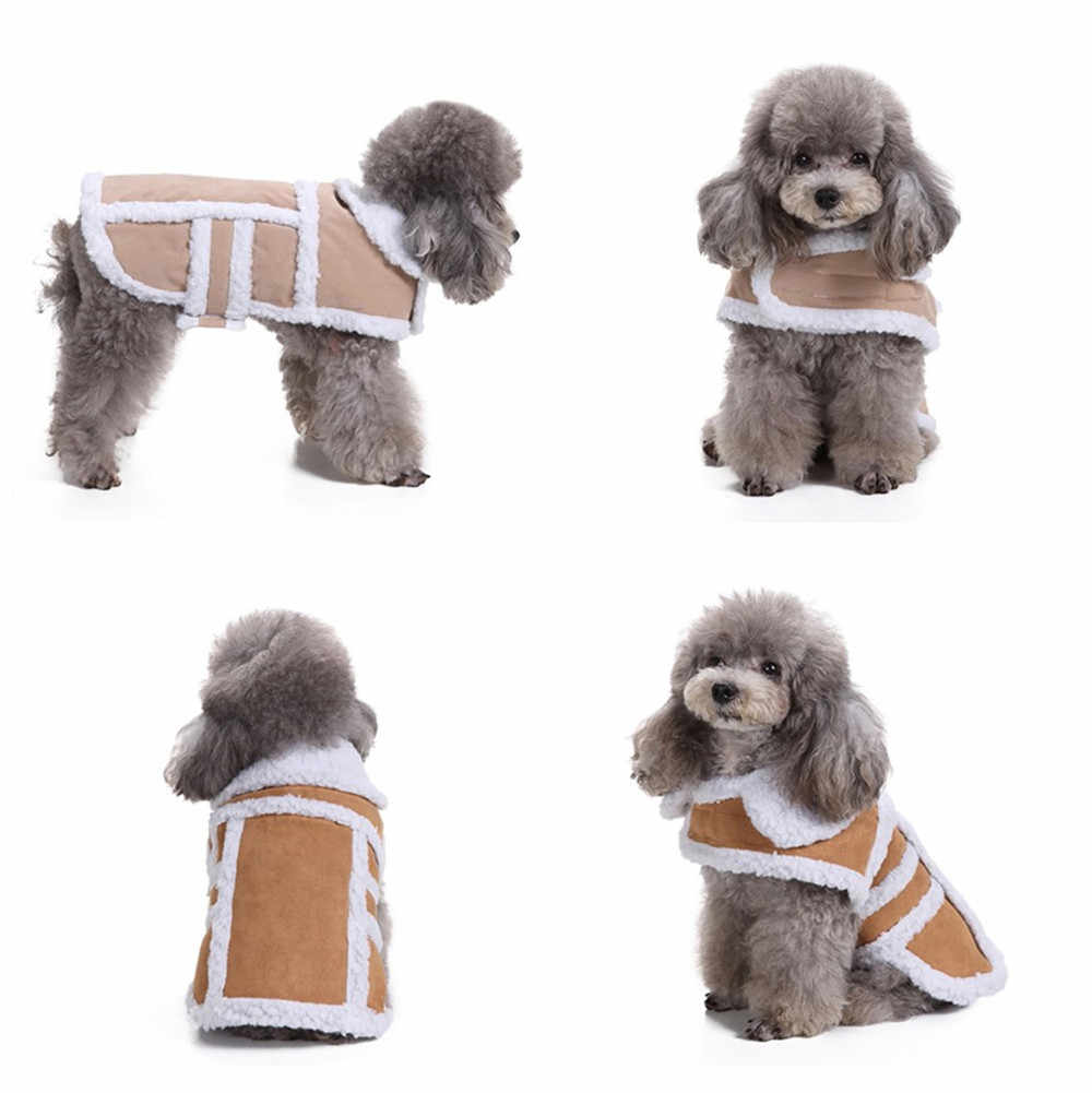 Winter Warm Padded Thickening Imitation Deer Leather Jacket Dog Costumes Dogs Coats Windproof Casual Pets Puppy Clothes Pug K25