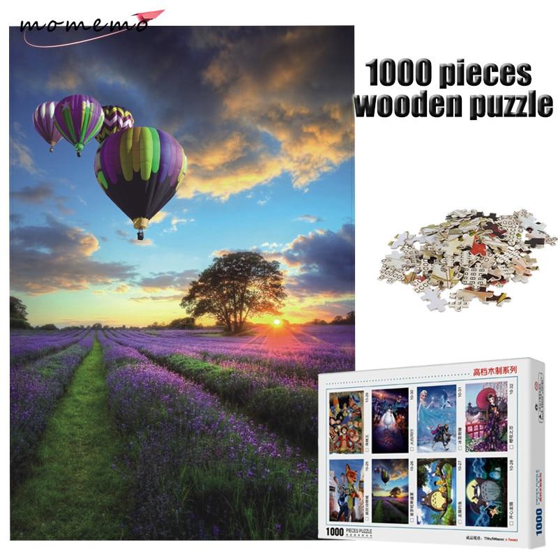 Jigsaw Puzzle 1000 Piece Wooden Oil Paiting Purple Lavender Sunset Landscape