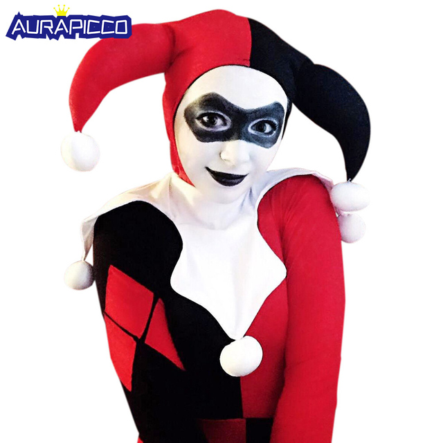 Harley Quinn Costume Women Adult Sexy Superhero Clown Cosplay Spandex Bodysuit Harley Quinn Mask Halloween Costumes For Women