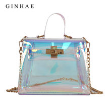 37994c54ba82 2018 Women Plastic Messenger Bag Transparent Laser Handbags Ladies Fashion Clutch  Shoulder Bag Girls Small Chain Crossbody Bags