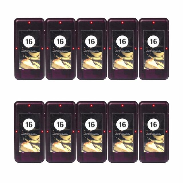 10 pcs Chamada Pager Coaster Restaurante para Fila de Paginação Sem Fio Sistema de Chamada Restaurante Equipamentos 433 MHz F4420A