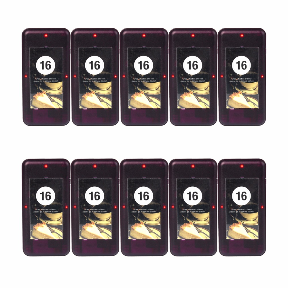 10pcs Call Coaster Pager Restaurant for Wireless Paging Queuing System Calling Restaurant Equipment 433MHz F4420A wireless calling table ordering system competitive new 433 92mhz restaurant pager with best price 2 display 27 call button