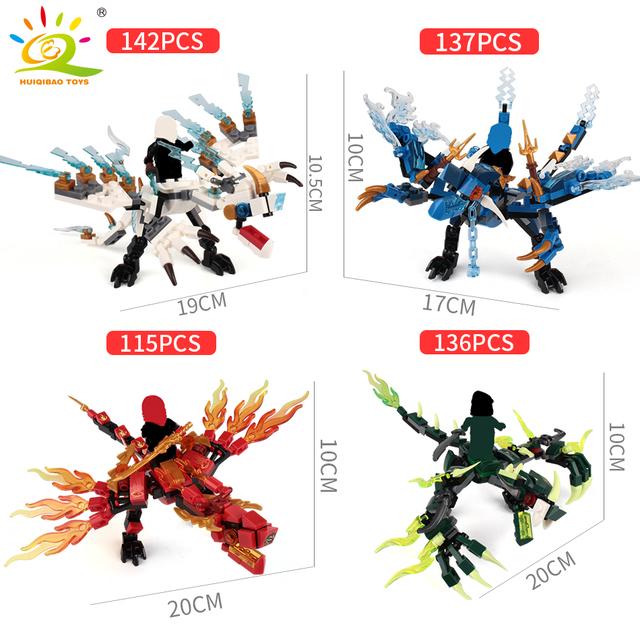 115pcs+ ninja dragon knight building blocks enlighten toy for children Compatible DIY bricks for boy friends