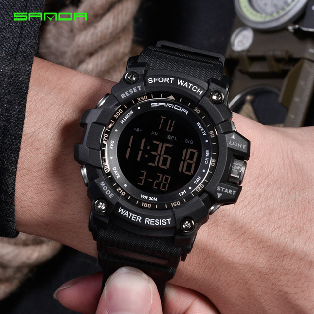 SANDA Military Electronic Watch Men Waterproof Sport Wrist Watches