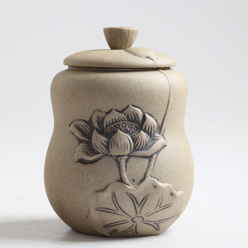 Chinese Ceramic Pottery CarvedLotus Home Storage Organization Jar  for Storage Coffee Bean Tea Candy Jams Biscuits Tank Box