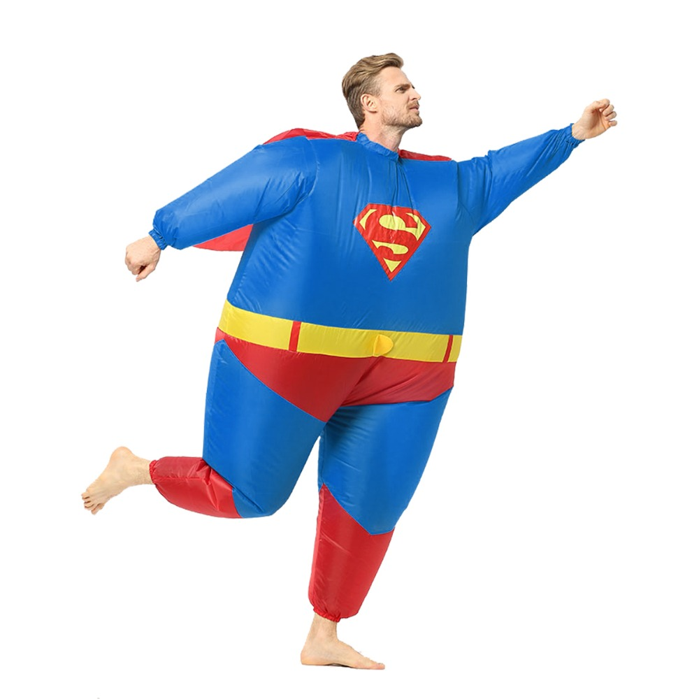 Inflatable Superman Costume Adult Kid Halloween Costume Superhero Cosplay Costume Men Children Masquerade Party Fancy Dress