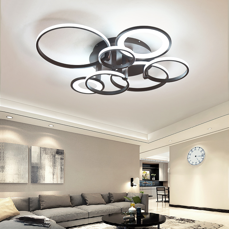 цены Circle Rings Ceiling Light LED Lamp for Living room Bedroom lustre de plafond moderne Dimming Aluminum Acrylic Wave Ceiling lamp