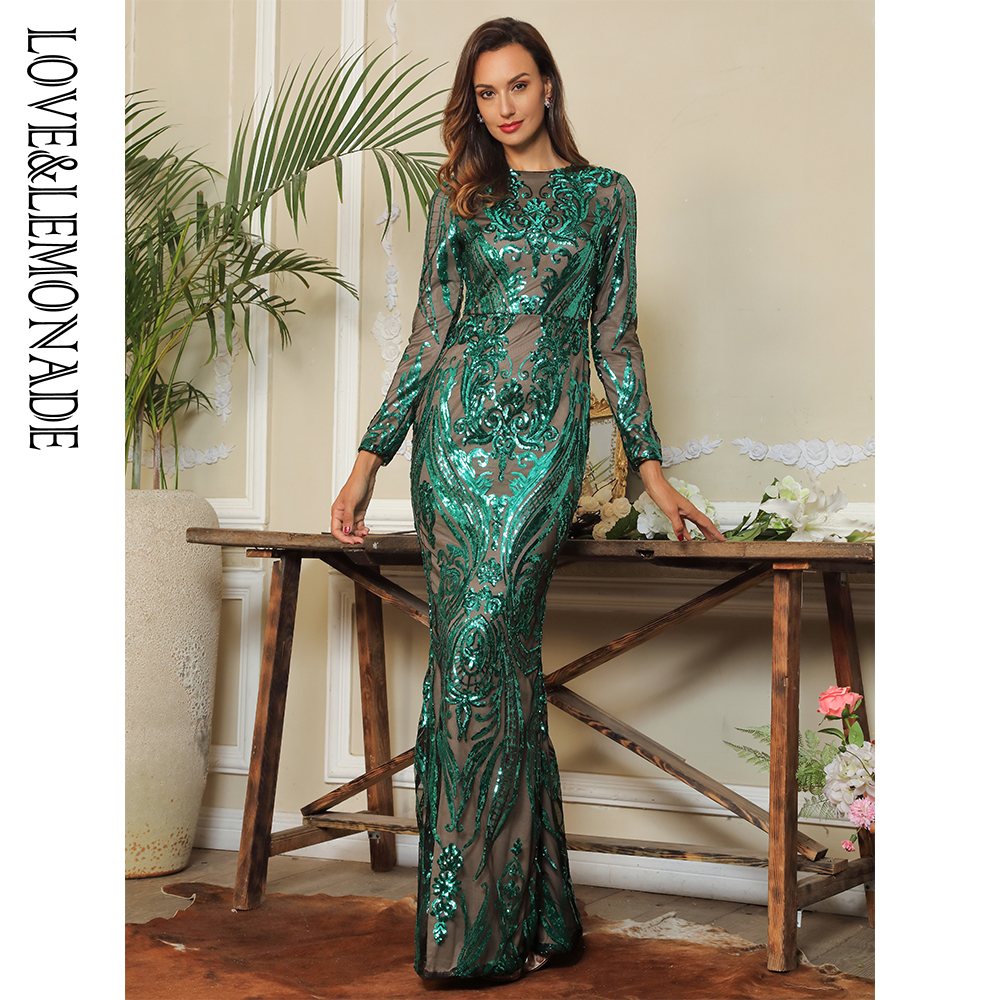 Love Lemonade Green 0 Neck Geometric Pattern Sequins Bodycon Party Long Dress LM80735 1 GREEN