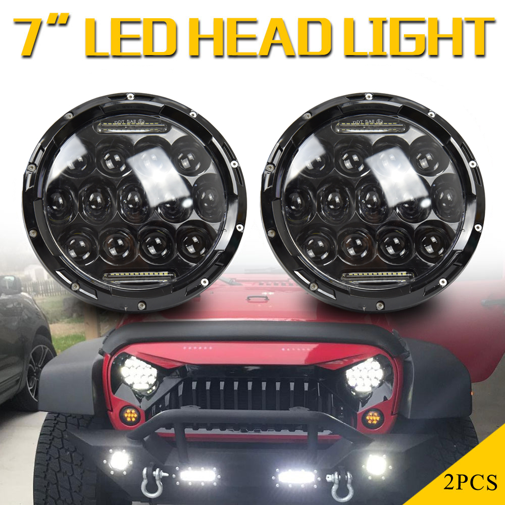 1x 75W 7'' Led Headlight H4 H13 High Low Beam Round Cars Running Lights for Jeep Lada Niva 4x4 4WD Motorcycle Driving Offroad 75w 7 led headlight h4 h13 high low beam round cars running lights for jeep lada niva 4x4