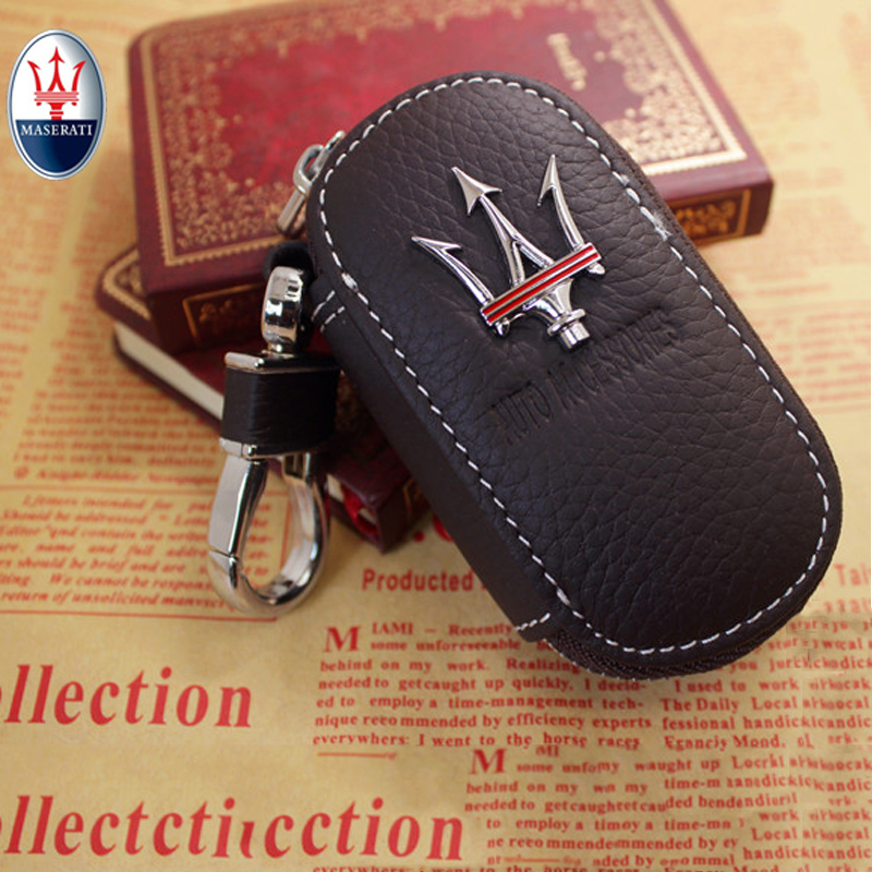 Arrival Men's Genuine Genuine Leather Bag Car Key Case Cover Wallets Fashion Women Housekeeper Holders Carteira For Maserati 1