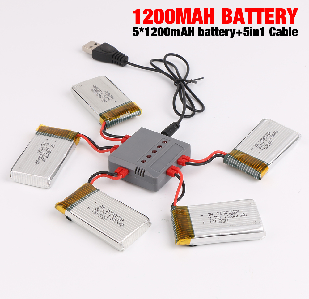 5 in 1 Charger Set 3.7V 1200mAh Lipo Battery FOR Syma X5HW X5H X5HC RC Drone Battery RC Quadcopter Helicopter 4pcs 500mah lipo 4 in 1 usb charger set for syma x5hc x5hw quadcopter remote control drone model spare part replacement set