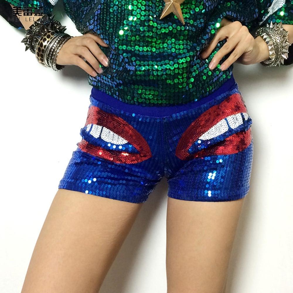Summer Fashion Female Sequin Shorts Bling Elastic Shorts Nightclub Costumes Perform Jazz Dance Hip-hop Clothing