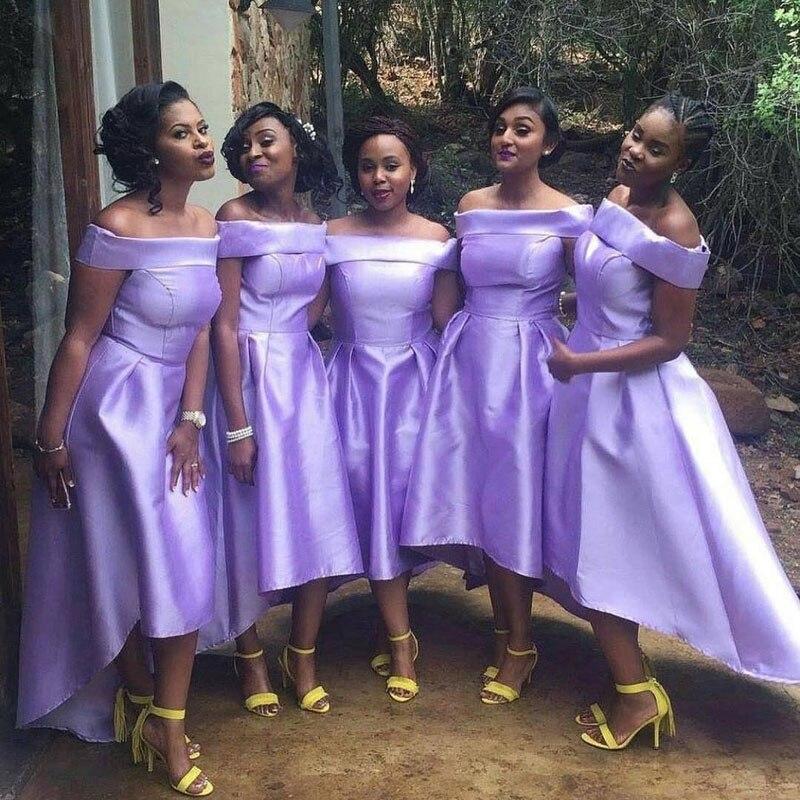 2018 haute basse robes de demoiselle d'honneur bateau cou hors épaule grande taille une ligne lilas Satin thé longueur pays robe de mariée
