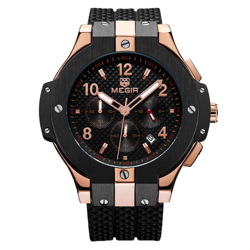 Mode hommes sport Silicone bracelet multifonctionnel étanche Quartz montre-bracelet Top luxe