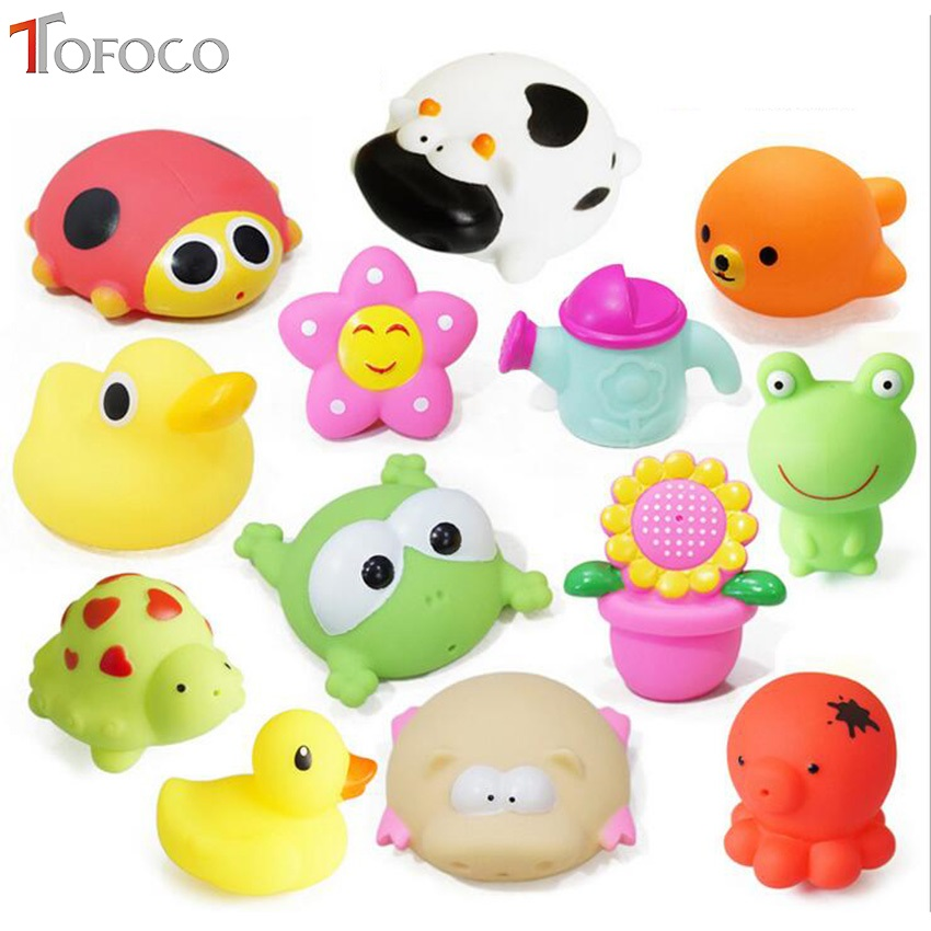 11styles Baby Bath Toys Soft Rubber Duck Animals Car Boat Kids Water Toys Squeeze Sound Spraying Beach Bathroom Toys For Kid rubber pig baby bath toy for kid