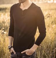 2019 New design Spring Autumn men solid color Cotton long sleeve T shirt W2701 W2727