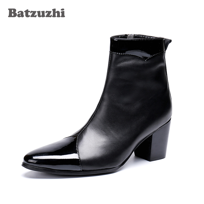 e5d64e790 Batzuzhi 7cm High Heels Men Boots Pointed Toe Black Genuine Leather Boots  Men Zip Knight Party Boots for Men Bota Masculina - aliexpress.com -  imall.com
