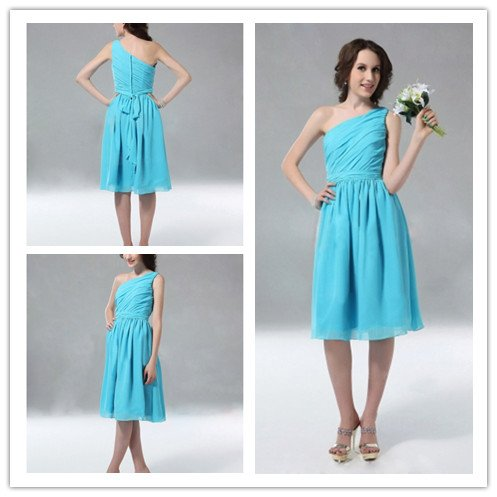 Fresh One Shoulder Light Blue Knee Length Short Chiffon Sleeveless Bridesmaid Dresses