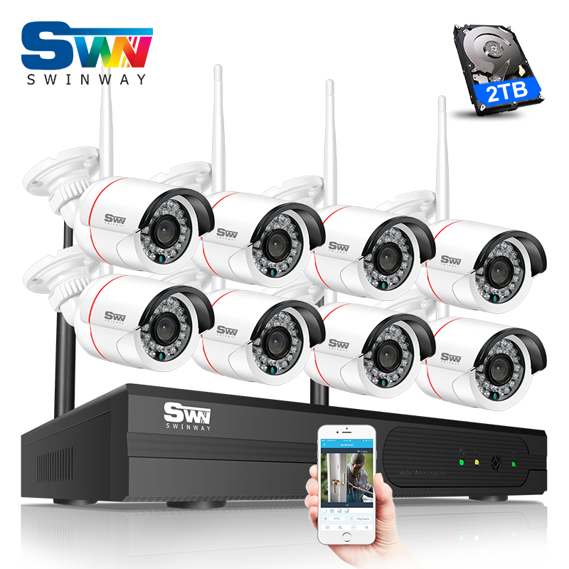 Plug And Play 8CH CCTV System Wireless NVR Surveillance Kit 2TB HDD P2P 960P HD Outdoor IR Night Vision Security WIFI IP Camera plug and play 4ch 960p wifi nvr kit wireless cctv onvif ip camera system outdoor ir night vision security surveillance for home