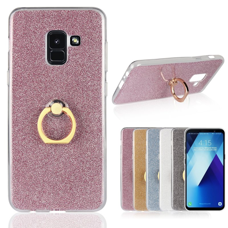online store d6f65 a8579 US $3.15 10% OFF|Luxury Ring Case for Samsung Galaxy A8 2018 A8+ 2018 Plus  Glitter Holder Back Cover Silicon Metal Stand Etui Coque Fundas Hoesje-in  ...