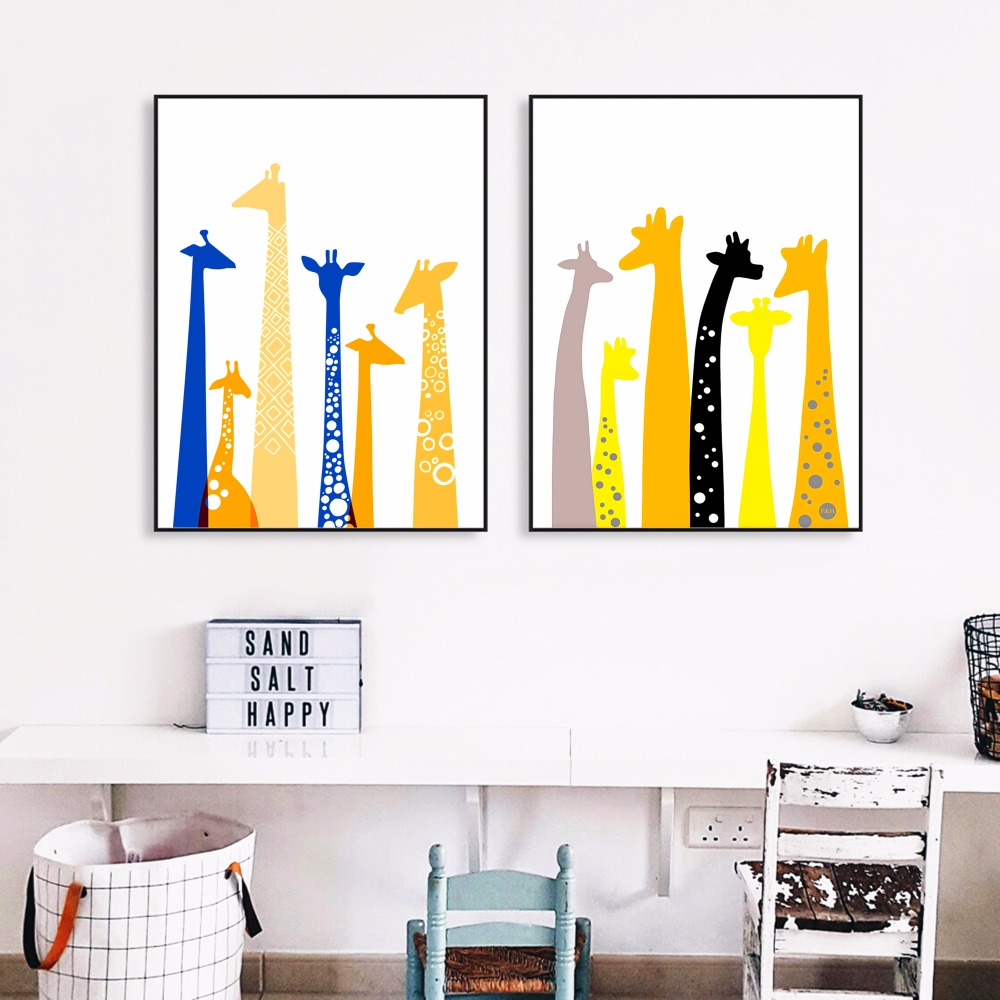 Minimalist Colorful Rug Designs: Colorful Minimalist Giraffe Canvas Art Print Painting