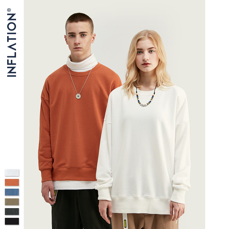 INFLATION Men Basic Sweatshirts 2020 AW O-Neck Cotton Sweatshirts 10 Colors Thick Men Hoodies Sweatshirts 9603W