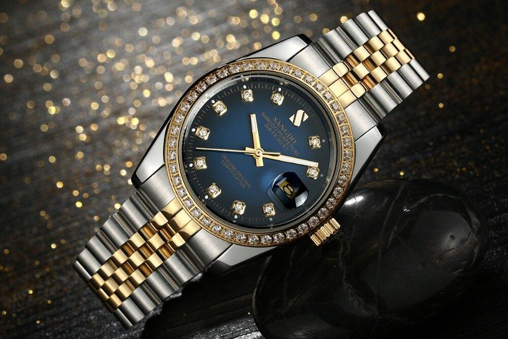 37mm Sangdo cadran bleu montre d'affaires automatique auto vent mouvement haute qualité montres mécaniques montre pour hommes 016A-in Montres mécaniques from Montres    3