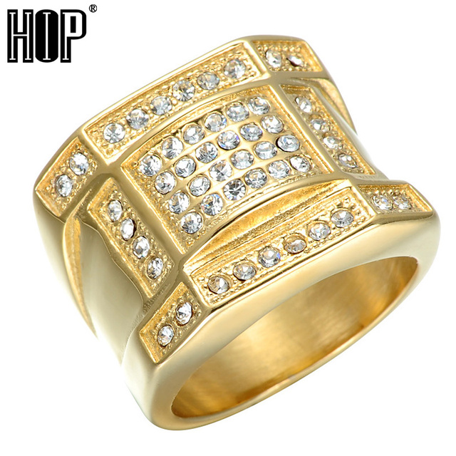 HIP Hop Micro Pave Rhinestone Iced Out Bling Geometric Ring IP Gold Filled  Titanium Stainless Steel Rings for Men Jewelry 9d75b8df89d5