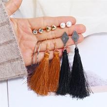 L&H 6 Pairs/Set Elegant Boho Earrings Set Personality Long Tassel Dangle Simple Rhinestone/Heart Jewelry Trend