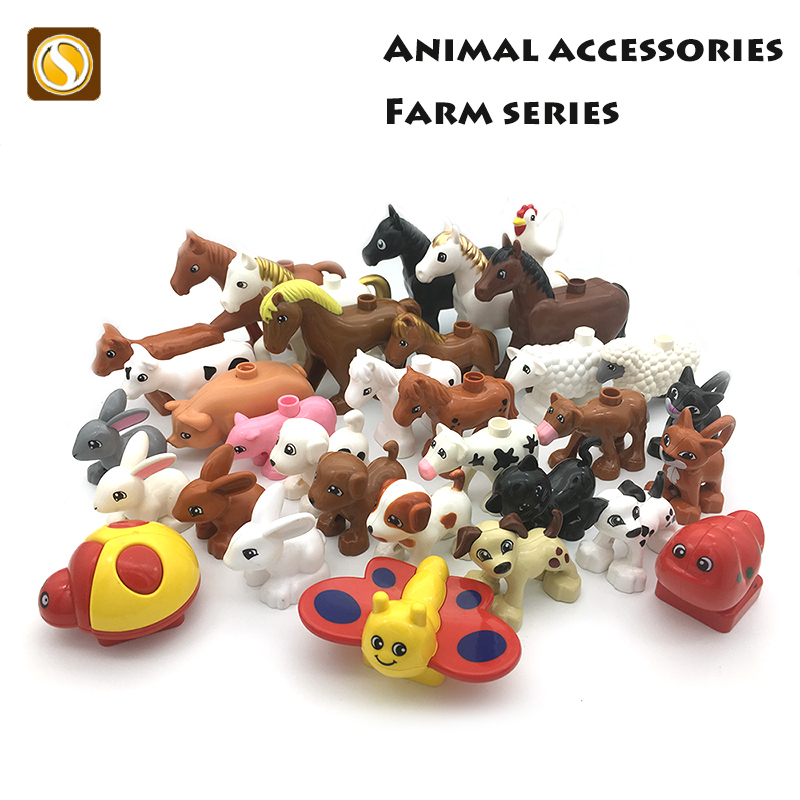 Big size Model Building Blocks rabbit pig cat Horse dog Bricks accessory child DIY Toys Compatible with Duplo farm Animals set forest park plant tree leaf model big particles building blocks toys set bricks diy accessory child gift compatible with duplo