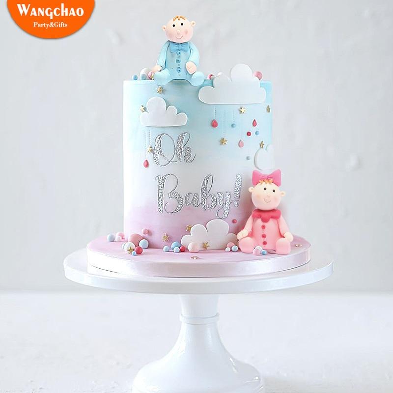 Baby Boy Girl  Shower Star Heart Happy Birthday Cake Topper Decor 4Pcs