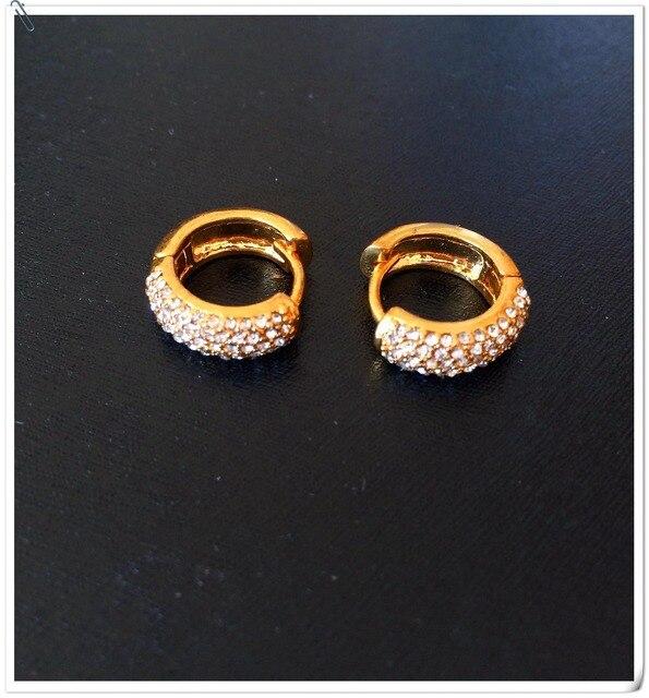 Fashion Crystal Bride S Small Earrings Hoop Gold Plated Wedding Luxury Design Nice