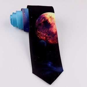 Image 3 - Design Creative Print Tie Boys and Girls Party Birthday Youth Gift Trend Personality Blue Planet Tie