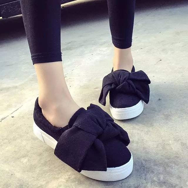 843989190 new famous brand women flat shoes big bow flats fashion woolen pattern  creepers bow platform shoes woman loafers espadrilles-in Women's Flats from  Shoes on ...