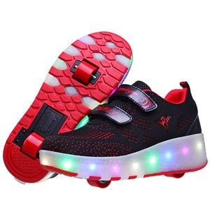 Image 2 - Yeni pembe mavi kırmızı USB şarj moda kız erkek LED ışık paten ayakkabı çocuklar Sneakers tekerlekler İki tekerlekler