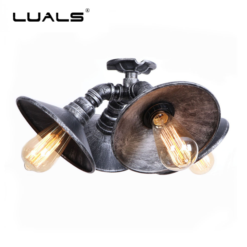 Iwhd Water Pipe Retro Vintage Ceiling Light Fixtures: Loft Iron Vintage Ceiling Lights Industrial Ceiling Lamp