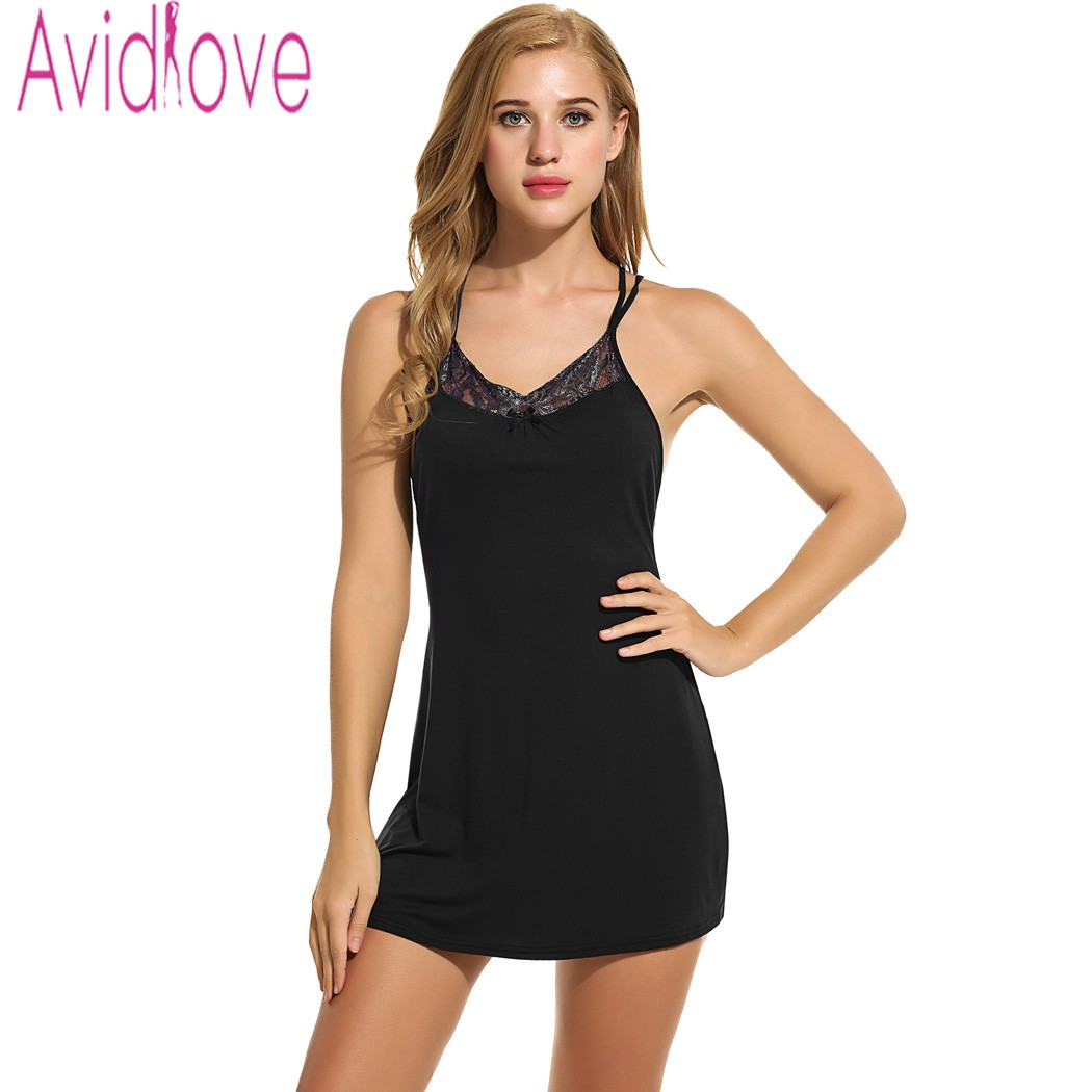 a4a2400b17 Avidlove Sexy Women Nightdress Plus Size Sleepwear Summer Backless Lounge  Dress Sexy Lingerie Lace Up Nightgown Strap Mini Dress-in Nightgowns    Sleepshirts ...