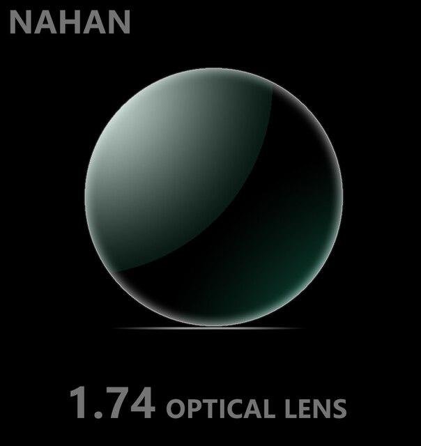 1.74 ультра тонкий, не сферической линзы анти излучения зеленый фильм и жесткий очки с высокой твердостью смола линзы CR-39