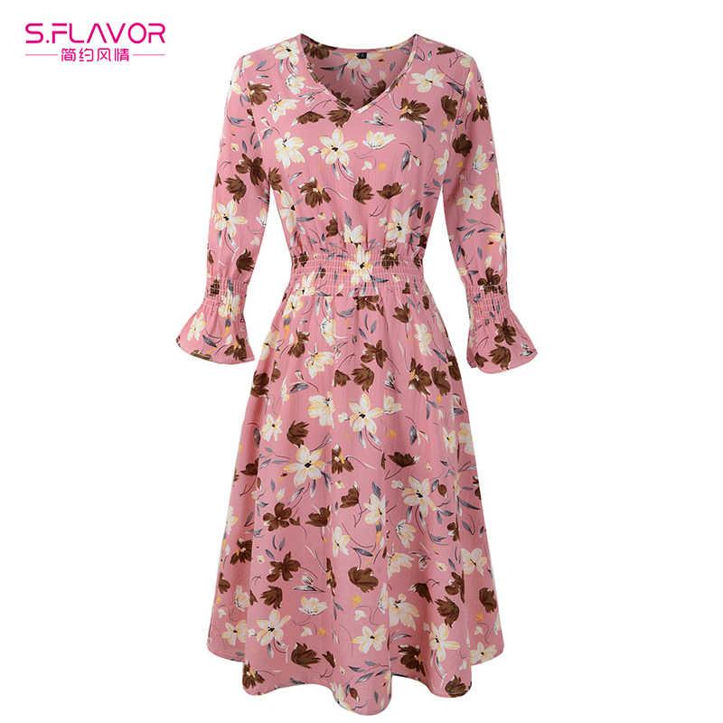 S. FLAVOR Boho Платье с принтом женское элегантное цветочное v-образный вырез сексуальное повседневное вечернее платье три четверти рукав тонкие платья женские 2018 Новые