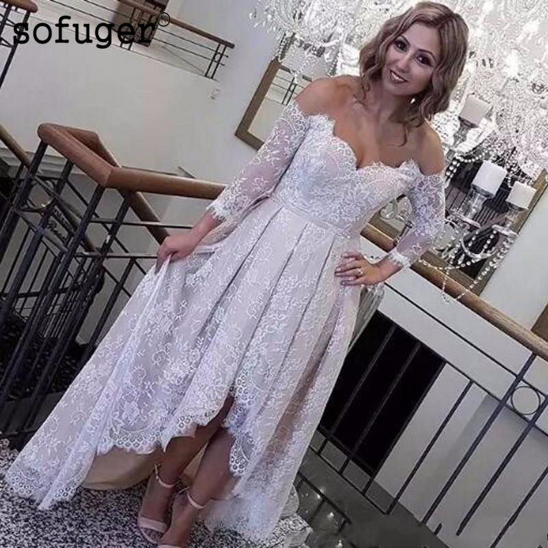 2019 Vintange Lace High Low Beach Wedding Dresses Off The