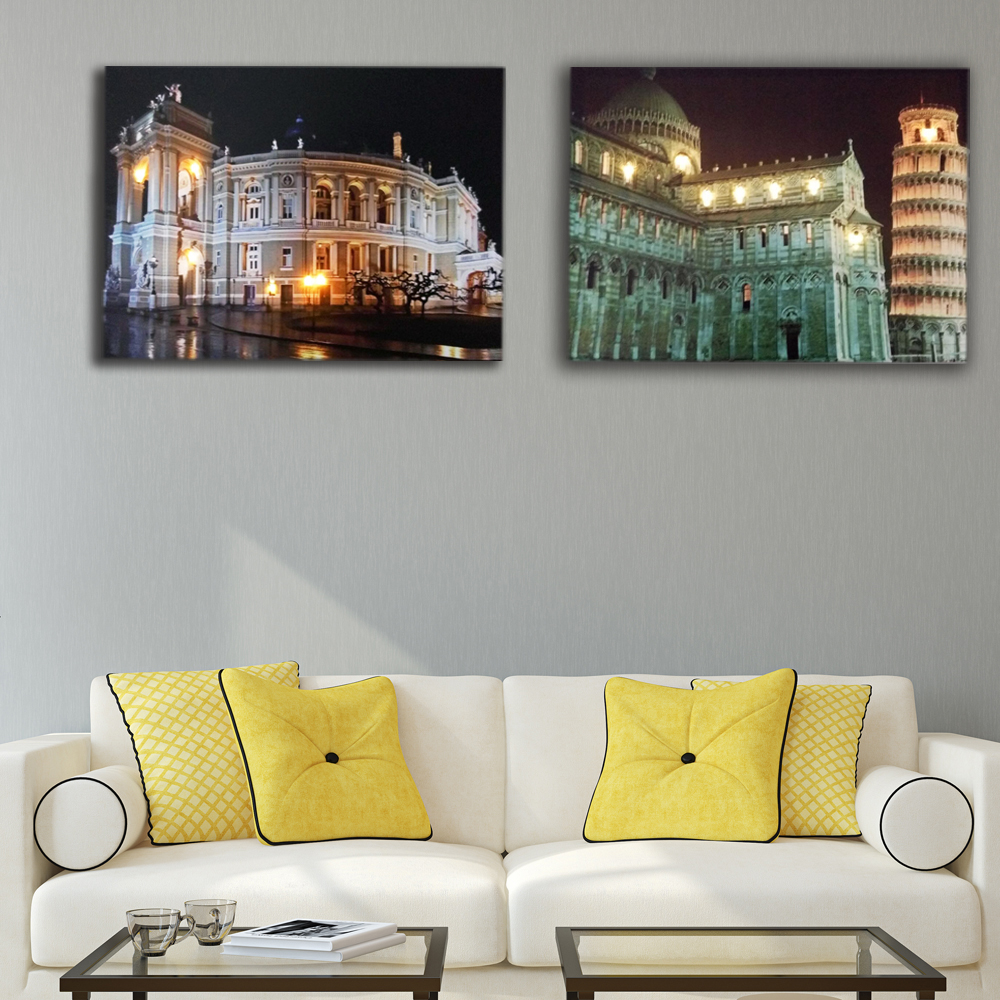 Moderne Beleuchtete Wand Bild odessa oper withTower von Pisa nacht ...