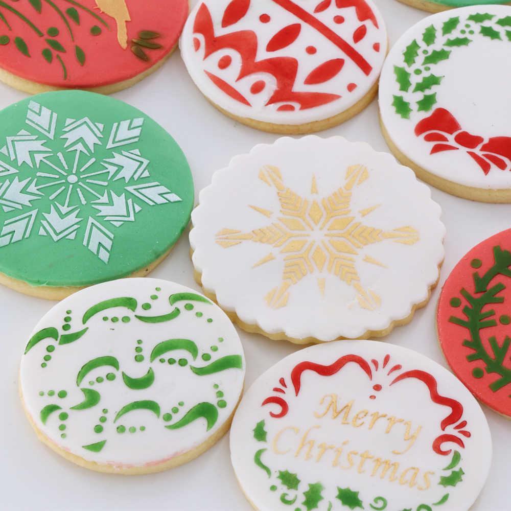 Yo 12pcs Lot Christmas Decoration Stencil Cookie Moulds Fondant Cake Decorating Tools Cookie Stencil Send A Video